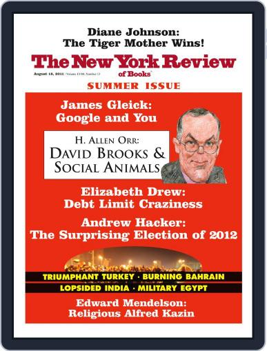 The New York Review of Books August 17th, 2011 Digital Back Issue Cover