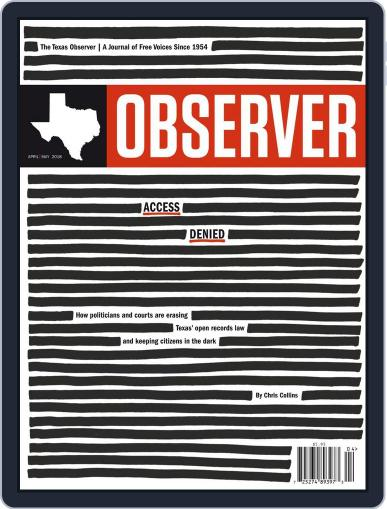 The Texas Observer April 1st, 2018 Digital Back Issue Cover