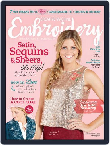 CREATIVE MACHINE EMBROIDERY January 1st, 2018 Digital Back Issue Cover