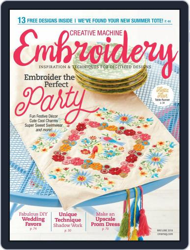 CREATIVE MACHINE EMBROIDERY May 1st, 2018 Digital Back Issue Cover