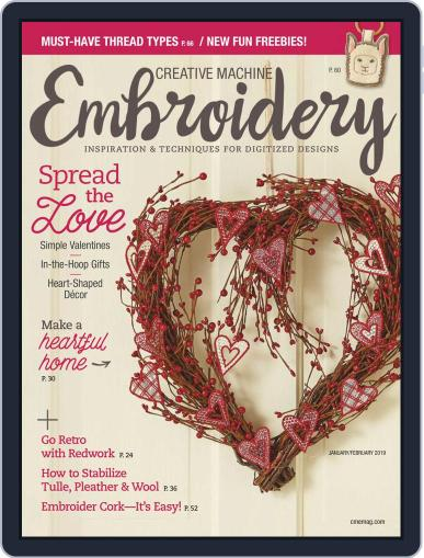 CREATIVE MACHINE EMBROIDERY January 1st, 2019 Digital Back Issue Cover