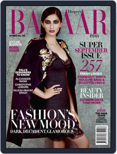 Harper's Bazaar India September 11th, 2013 Digital Back Issue Cover