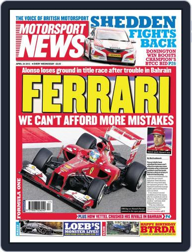 Motorsport News (Digital) April 24th, 2013 Issue Cover