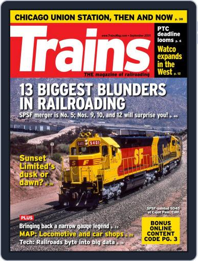 Trains (Digital) September 1st, 2015 Issue Cover