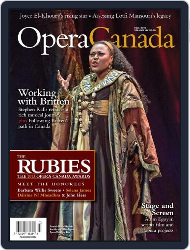 Opera Canada October 4th, 2013 Digital Back Issue Cover