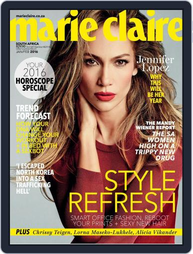 Marie Claire South Africa January 1st, 2016 Digital Back Issue Cover