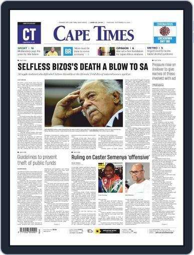 Cape Times September 10th, 2020 Digital Back Issue Cover