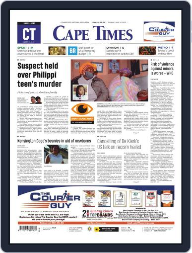 Cape Times June 22nd, 2020 Digital Back Issue Cover