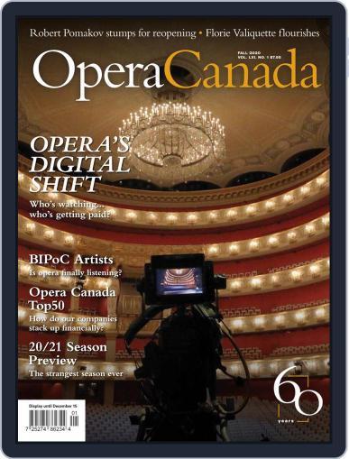 Opera Canada Magazine (Digital) September 4th, 2020 Issue Cover