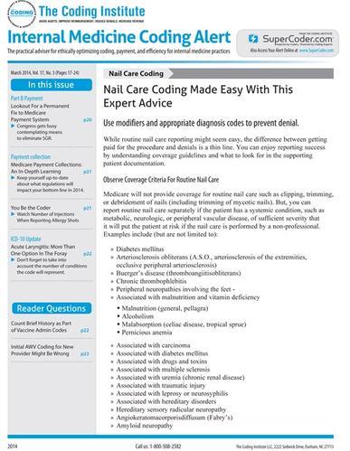 Internal Medicine Coding Alert