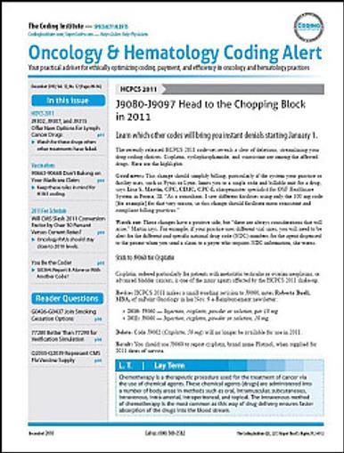 Oncology & Hematology Coding Alert